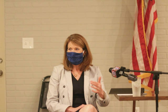 U.S. Congresswoman Cindy Axne speaks during the Rural Broadband Roundtable on Tuesday, June 23 in Adel.