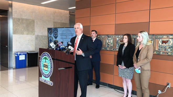 Bucks County District Attorney Matt Weintraub speaks about the charges against Louis Aiello and David Hoffman in June. The two men are accused of abusing the same boy in Lower Bucks, according to authorities.