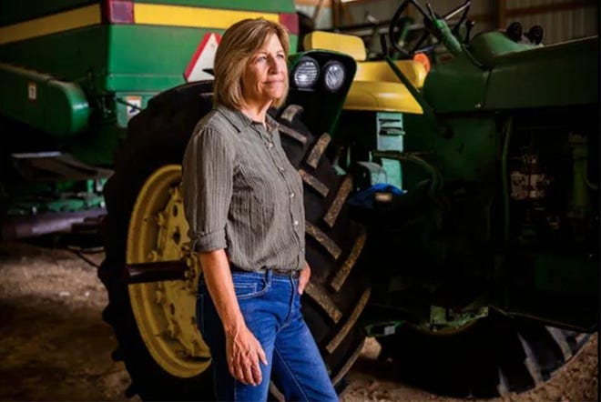 Former State Sen. Rita Hart is shown on her farm August 5 in Wheatland. Hart won the Democratic nomination for Iowa's 2nd Congressional District in June and will face Republican Mariannette Miller-Meeks in the general election in November.