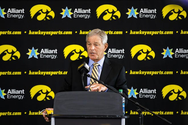 Iowa head football coach Kirk Ferentz addresses the media during a press conference at Carver-Hawkeye Arena on Thursday in Iowa City, Iowa. Ferentz discussed the Husch Blackwell review of the Iowa football program that investigated racial bias against Black players.