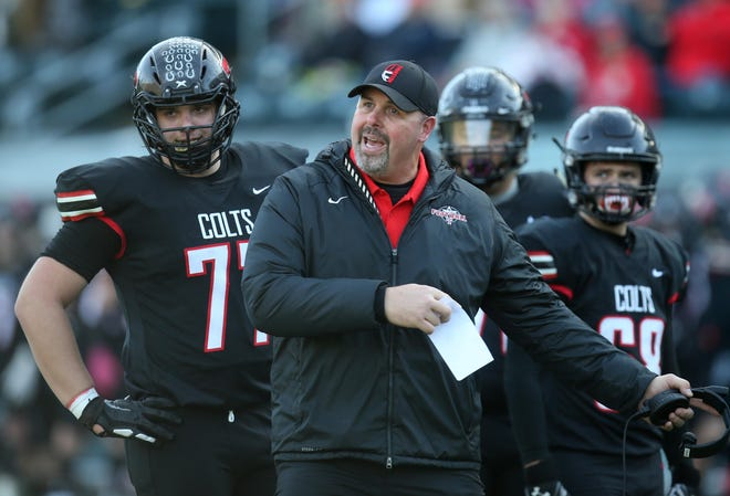 Thurston football coach Justin Starck led the Colts to back-to-back 5A state championships in 2018 and 2019.