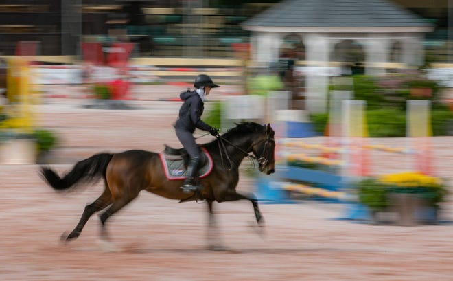 A rider practices at the Palm Beach International Equestrian Center in Wellington in November 2018..