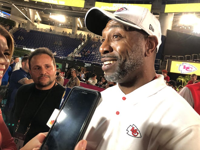 Former Dolphins All-Pro cornerback Sam Madison, now Chiefs cornerbacks coach, addresses reporters at Super Bowl Opening Night at Marlins Park last season.