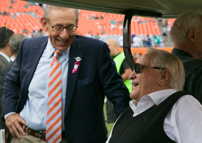 Miami Dolphins owner Stephen Ross shares a laugh with former Dolphins coach Don Shula at Sun Life Stadium in Miami Gardens, Florida on October 20, 2013.