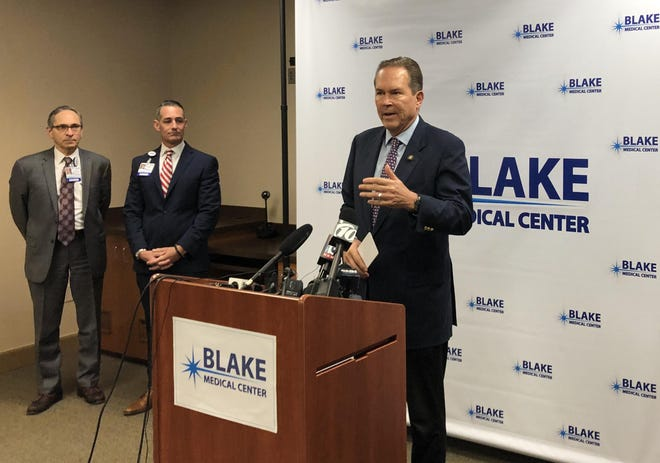 U.S. Rep. Vern Buchanan at a press conference at Blake Medical Center in Bradenton on Monday to discuss the coronavirus response.