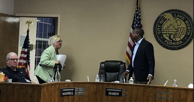 Lake Worth Beach Mayor Pam Triolo yells at Commissioner Omari Hardy during a March 19 emergency meeting of the city commission.