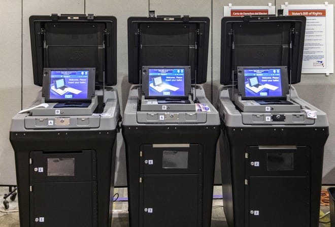 DS200 voting machines, where voters at polls and early voting sites submit their ballots, shown in November 2019 after the Palm Beach County supervisor of elections spent $15.7 million to buy them.