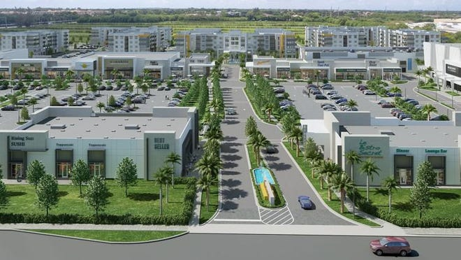 Planned Uptown Boca Raton mixed-use center, to be built west of Boca Raton. The project will feature a movie theater, restaurants, shops and apartments.