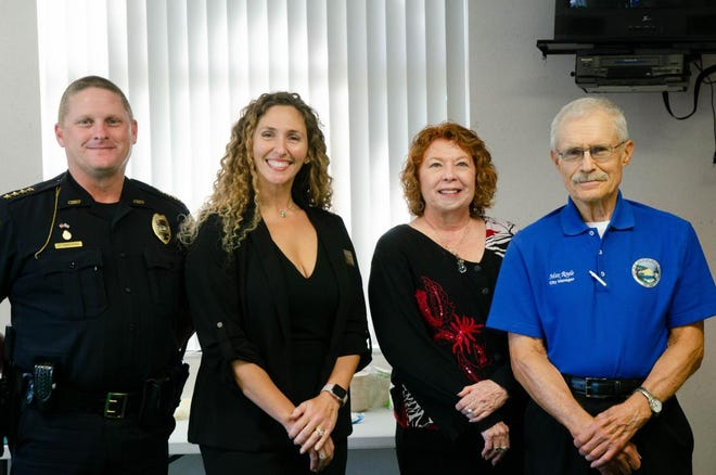 St. Augustine Beach Police Chief Robert Hardwick, Commissioner Undine George, Mayor Margaret England and City Manager Max Royle celebrating the city's 60 birthday in October, 2019.