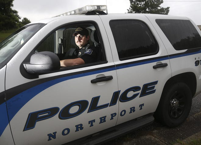 Sgt. Cody Sullivan, a Northport Police officer, is a former rodeo cowboy. Sullivan is seen in his police SUV Wednesday, July 29, 2020.