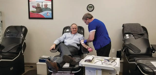 Columbia resident Ed Lancaster donates at the Blood Assurance location in the Neely's Mill shopping center at 1412 Trotwood Ave.