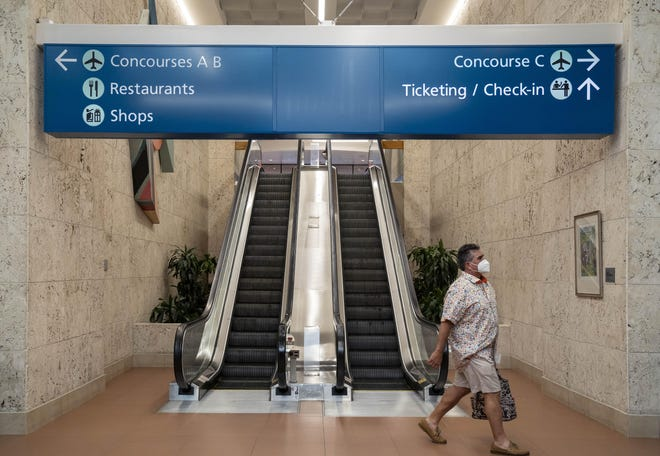 A $3 million federal grant will help pay to rehabilitate three escalators and replace its other nine escalators at Palm Beach International Airport in West Palm Beach, Florida on July 6, 2020.