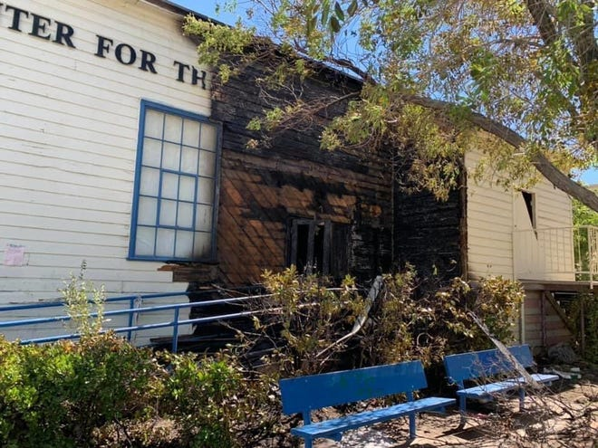 Fire damage from a blaze on Saturday, Aug 1, 2020, at the High Desert Center for the Arts building at Old Town Victorville.