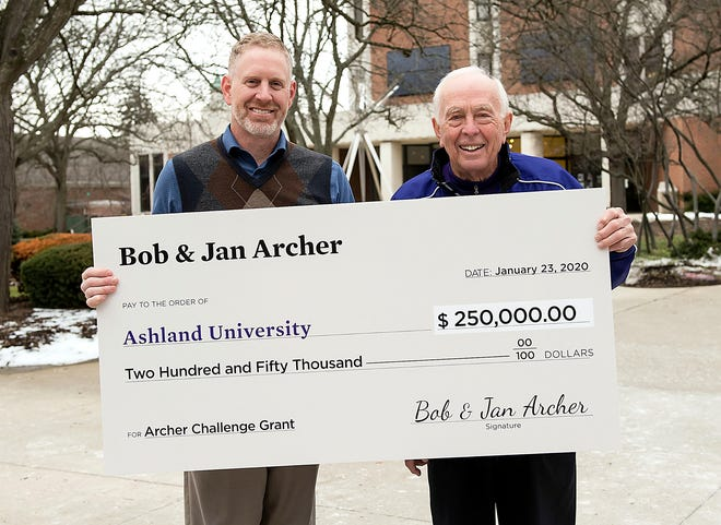 Back in January, AU alumnus and trustee Bob Archer (right) presented a check for $250,000 from he and wife Jan to AU Vice President of Operations and Planning Rick Ewing, the first installment on the Archer Challenge Grant, for which the couple pledged to match dollar-for-dollar every gift made in support of AU's facilities and grounds, up to $1 million. The $1 million mark was surpassed this summer when the couple agreed to match an endowment fund created at the Ashland County Community Foundation to support facilities maintenance and specific needs of the Heritage Room in the John C. Myers Convocation Center.