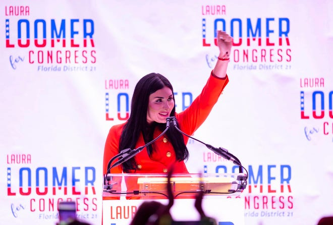 Republican congressional candidate Laura Loomer celebrates an election night win at the airport Hilton in West Palm Beach, August 18, 2020. Loomer is one of five GOP candidates hoping to secure the nomination in the primary on Aug. 18. The winner will challenge the winner of Democratic primary between incumbent U.S. Rep. Lois Frankel and Guido Weiss in the November general election.