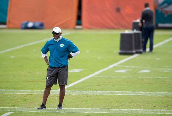 Brian Flores at Miami Dolphins training camp.