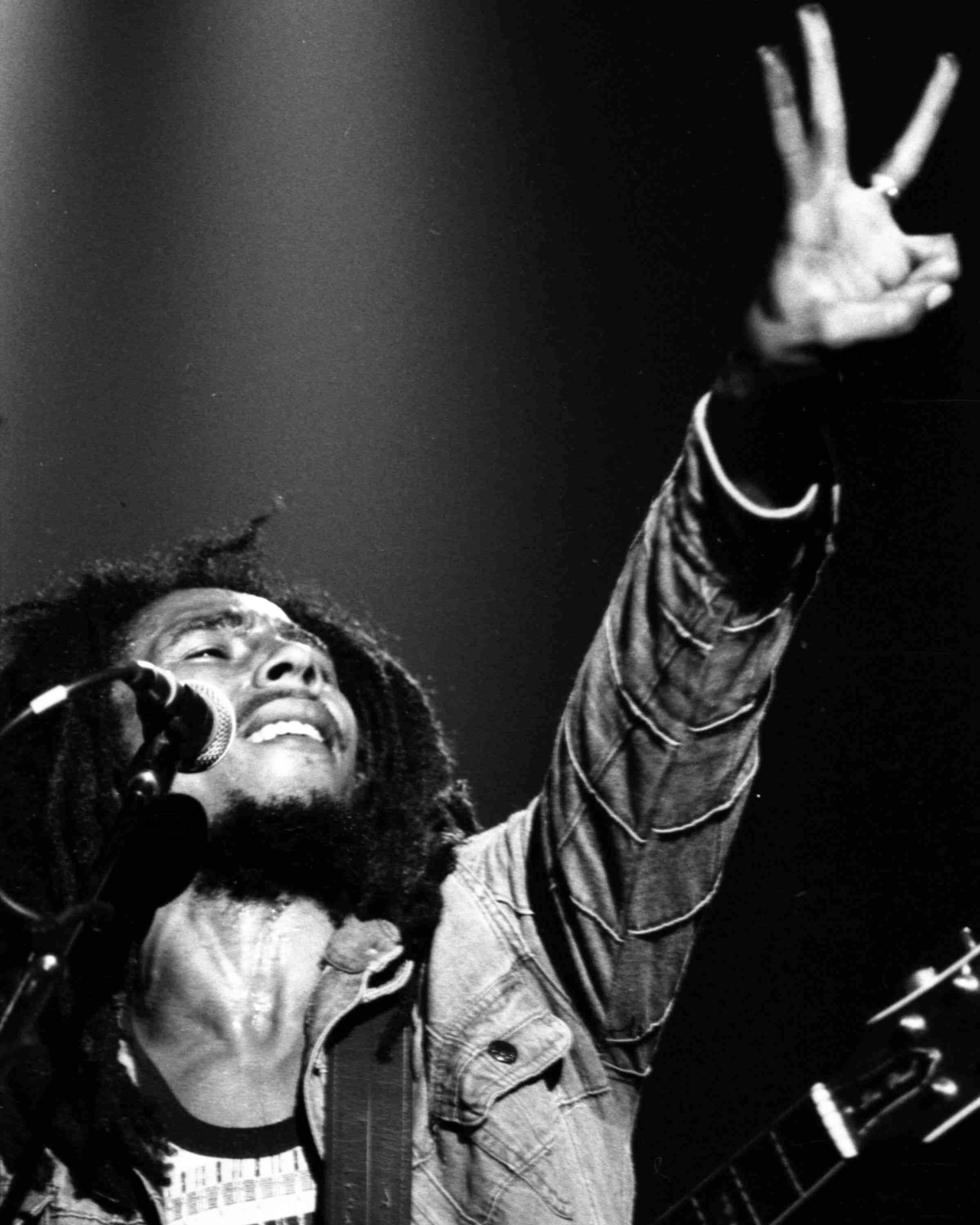 Jamaican Reggae singer Bob Marley performs in front of an audience of 40,000 during a festival concert of Reggae in Paris, France, on July 4, 1980.