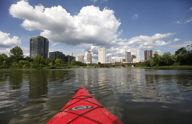 The Downtown skyline reveals itself during a kayak ride on the Olentangy River and through to the Scioto River.