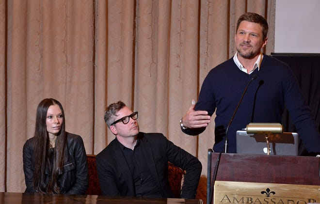 """From left, directors Dorota Swies and John C. Lyons and Girard native and actor Marc Blucas answer questions at a news conference in 2018 when """"Unearth"""" was first announced."""