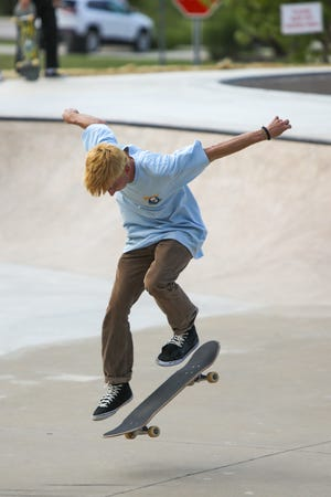 A skateboarder practices his craft at Hudson's skate park in 2020. The park is closed Monday, Aug. 23, for maintenance work, but will reopen Tuesday. The park is open from dusk to dawn at Veterans Way Park.