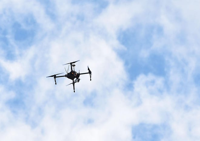 A drone flies during a NASA drone demonstration Wednesday, June 7, 2017, at Griffiss International Airport in Rome.