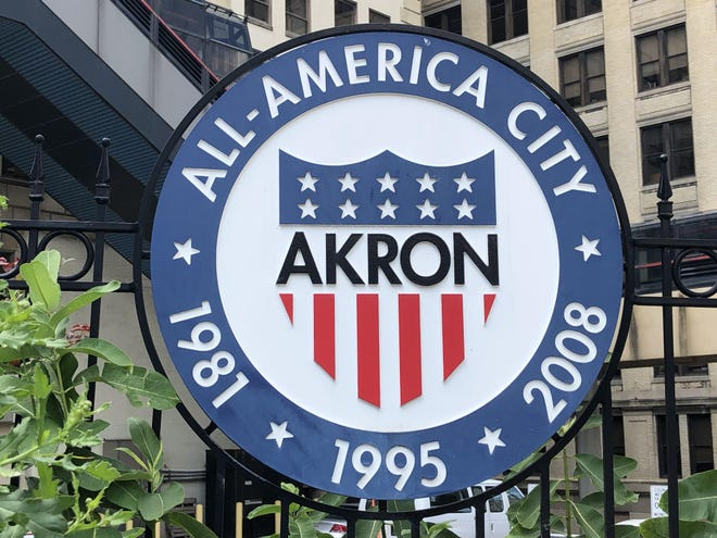 The city of Akron seal.