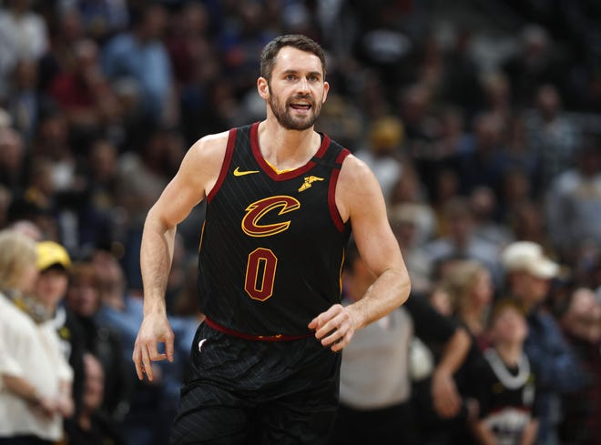 Cavaliers forward Kevin Love is the recipient of the Humanitarian Award from the Cleveland Sports Awards. [David Zalubowski/Associated Press]