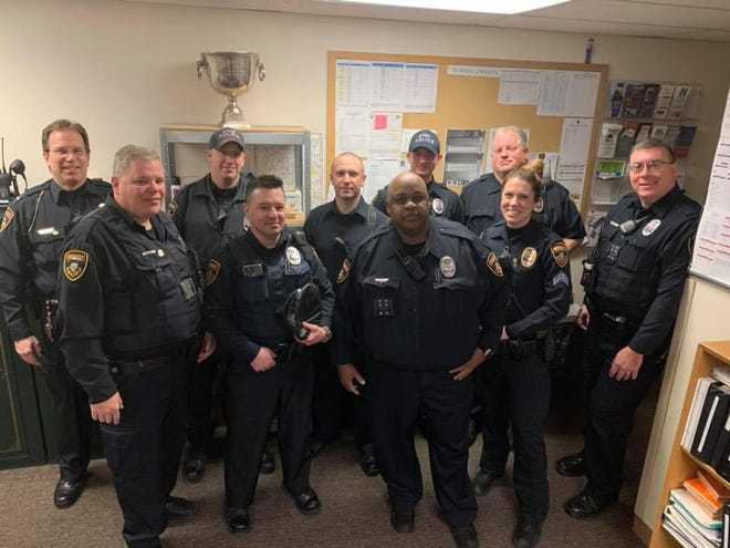 Stow police welcome back officer Barry Smith, third from left in front row, in a Facebook post in March.