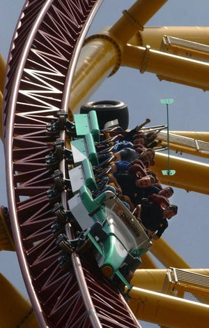 """David Miran, ODA chief ofamusementrides, said the Top Thrill Dragster's green train, as seen in this file photo, lost an """"L-shaped"""" bracket  on the back of the train car during an Aug. 15 ride."""