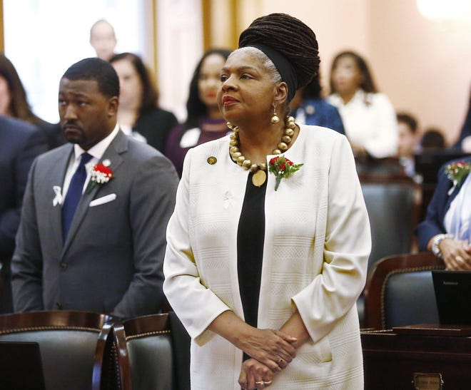 State Rep. Bernadine Kennedy Kent, D-Columbus, participates in session-opening ceremonies of the state House on Jan. 7, 2019, months after House Democrats had kicked her out of their caucus. In May 2019, she vowed not to return to the Statehouse until Democrats resolved her dispute with them.