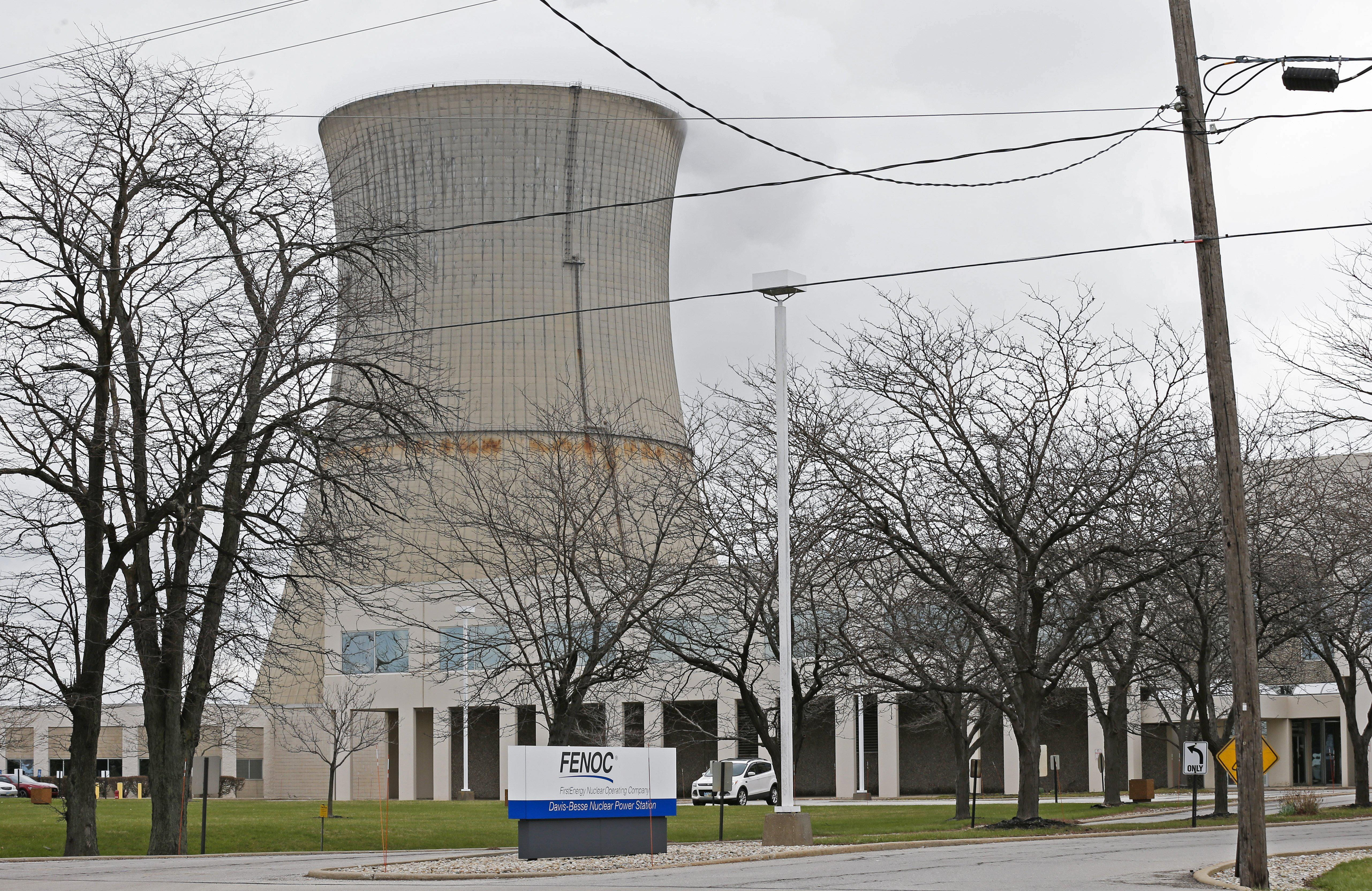 This April 4, 2017, file photo shows the entrance to FirstEnergy Corp.'s Davis-Besse Nuclear Power Station in Oak Harbor, Ohio.