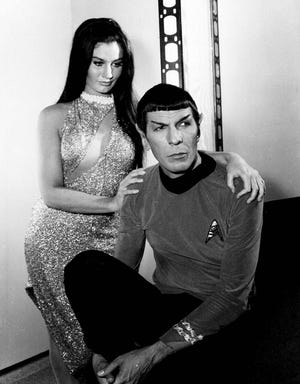 Susan Demberg plays a mail order bride for Leonard Nimoy's character, Mr. Spock, in a scene from the television program, June 2, 1967