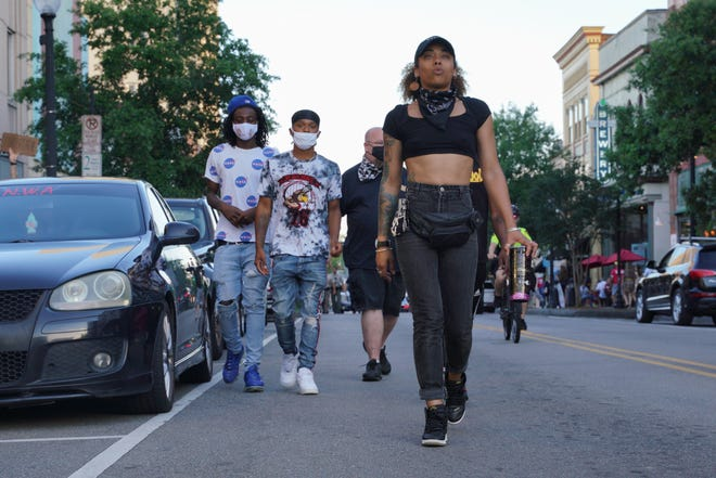 Lily Nicole leads hundreds of hundreds protesters in downtown Wilmington on June 5th.