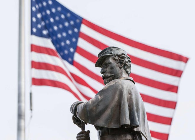 A Civil War Monument located at Grandview Cemetery and dedicated to those who served was vandalized on Wednesday, June 24, 2020. Damaged to the statue centered on one plaque where the hands of a soldier are missing and a rifle and sword broken off.