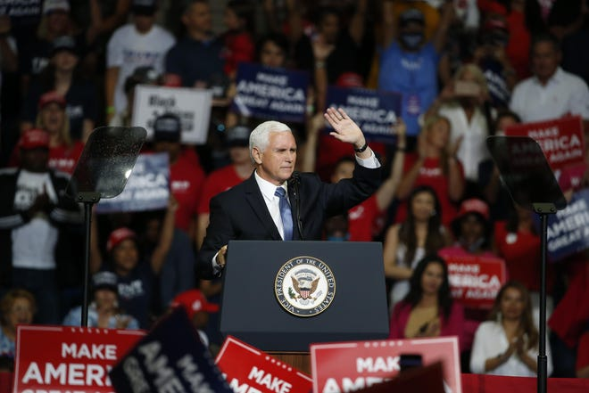 Vice President Mike Pence speaks to the crowd during President Donald Trump's campaign rally in Tulsa, Oklahoma on Saturday, June 20, 2020.