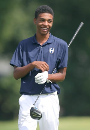 Hoban's Solomon Petrie gets ready to tee off on the fourth  hole during the Hoban Invitational on Tuesday.
