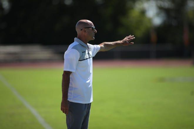 Missouri head soccer coach Bryan Blitz gives instructions to his team during a 2019 match against Vanderbilt.