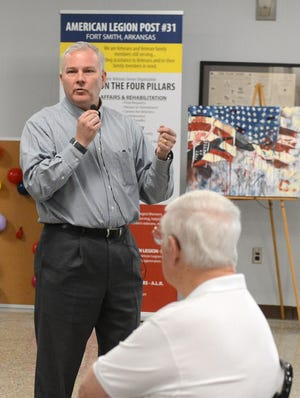 Arkansas Lt. Gov. Tim Griffin speaks to citizens during the Q&A Meeting held this month at the American Legion Ellig-Stoufer Post 31 on Tuesday, Sept. 8 in Fort Smith.