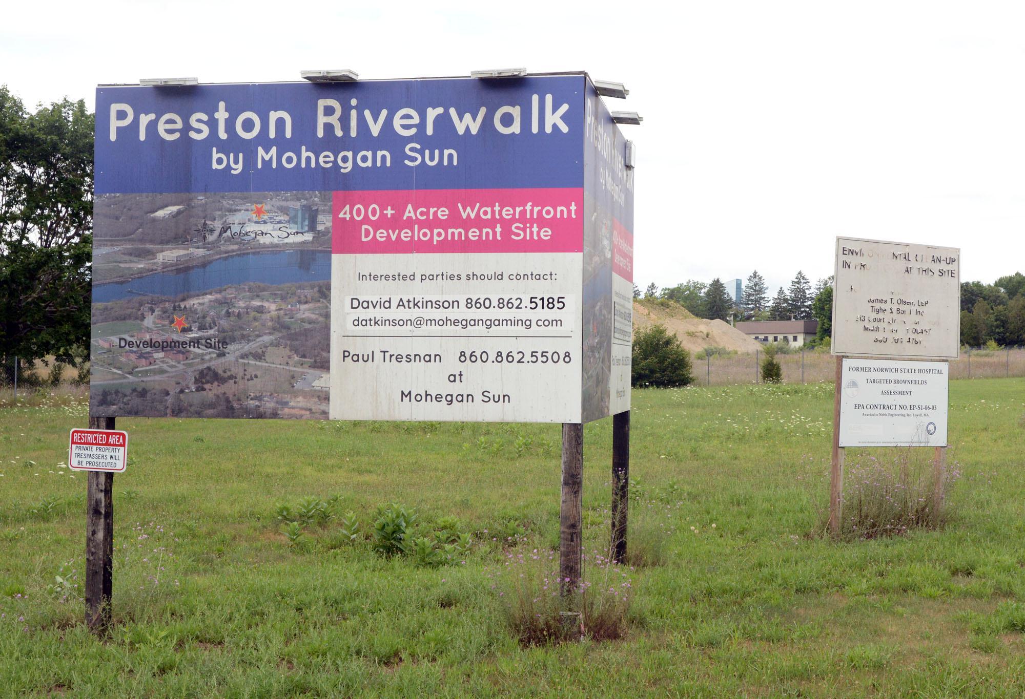 File photo of the Preston Riverwalk sign.