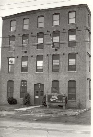 The Nike research and development plant on Front Street in the old Wise Shoe Shop. Nike's first stateside manufacturing plant was located in Exeter from 1974 until 1983.