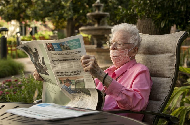Shudde Fath, now 105, reads the Austin American-Statesman at her Westminster retirement community in 2020. She hasn't missed an edition since January 1939.