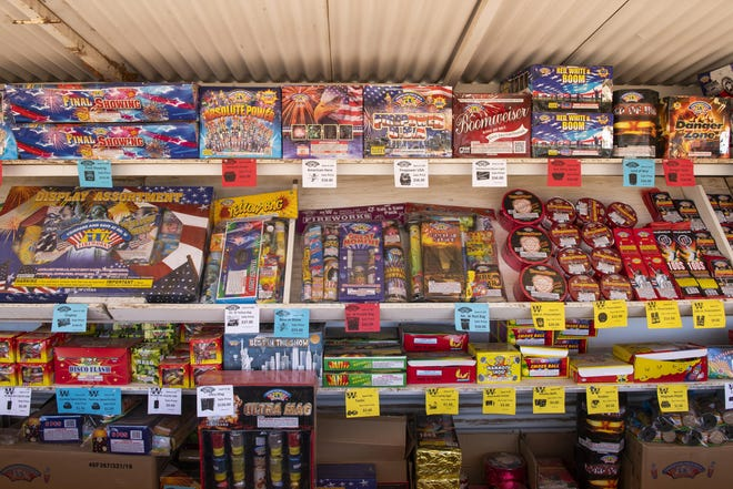 The selection of fireworks offered by the Mr. W fireworks stand on US Highway 62 in Lubbock County.