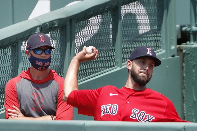 Matt Barnes throws in the Red Sox bullpen during the 2020 season.
