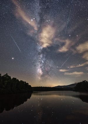 The Perseids over Price Lake, Mile Marker 297 on the Blue Ridge Parkway, near Blowing Rock, North Carolina.