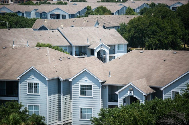 A view of apartments along East Riverside Drive in Southeast Austin. Housing advocates estimate hundreds, if not thousands, of Austin tenants in recent months have received unlawful notice to vacate orders over unpaid rent, despite eviction moratoriums in place.