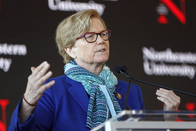 Rep. Chellie Pingree, D-Maine, seen Jan. 27, 2020, speaks a news conference in Portland, Maine.