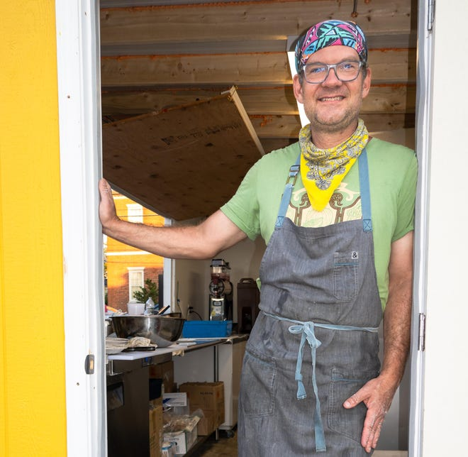 Evan Mallett, chef and owner of Black Trumpet Bistro and Wine Bar, Portsmouth, takes a break from cooking at his Pop Up NH location in Portsmouth.