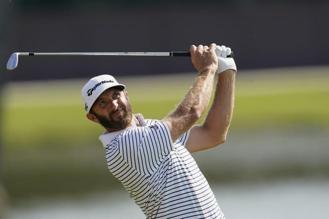 Dustin Johnson, shown during the Tour Championship, will play at the Houston Open this week, his first action since testing positive for COVID-19.