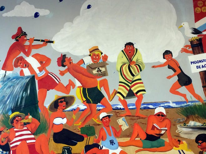 """A section of a mural depicting life in the G.I. Bill era of the 1950s by Arthur """"Art"""" Sherman."""