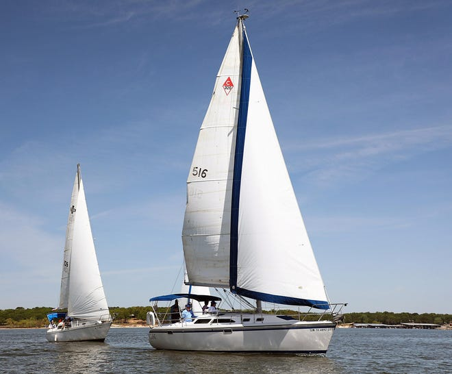 Boats fill Lake Texoma Memorial Day holiday weekend in 2018.